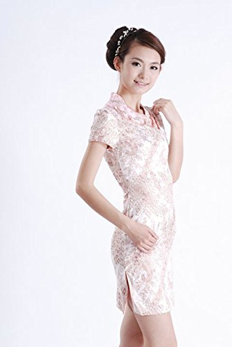 Smile YKK Femme Robe Elégante Chinois Cheongsam Qipao Coton Floral Orange