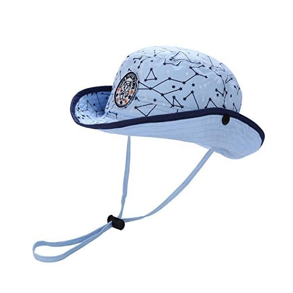 Kaiwawa – Cappello della Benna da Bambino Neonato Cappello del Pescatore  Solare Protezione con Cinghia Regolabile Cap Primavera Estate Anti UV – 2  Colori 682214d3385e