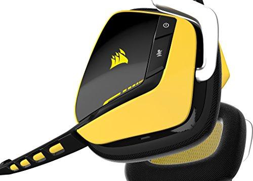 Corsair - Auriculares cómodos de Gaming para PC (inalámbricos, USB, Dolby 7.1), Amarillo (CA-9011135-EU)