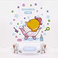 Cartoon Baby Shower Time Wall Sticker for Baby Rooms Bathroom Glass Home Decoration Decals Wallpaper Shower Cute Stickers