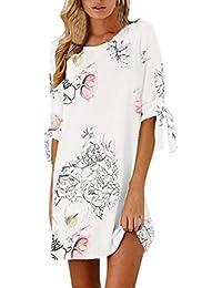 Toamen Vestido corto casual casual recto floral del vendaje del arco de la manga de las