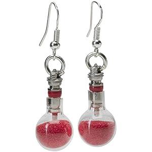 Glas-Ventil-Ohrringe mit rotem Handwerk Sand einzigartige ungewöhnliche Geschenkidee