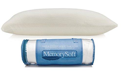 Premium-Kopfkissen aus Geschreddertem Schaum von MemorySoft - Bauchschläferkissen mit Waschbaren Bambusabdeckung