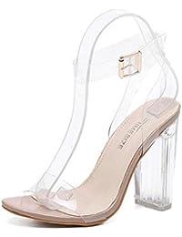 GLTER Mujeres Ankle Strap Bombas Verano Nuevo Sandalias De Tacón Alto Transparente Encanto Thick Heel Zapatos Europea Y Moda Americana De Tres Colores Cristal Zapatos , apricot , 35
