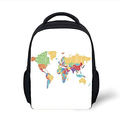 Kids School Backpack World Map,Colorful High School Classroom Map with Names of Countries Teen Room Decor Print,Multicolor Plain Bookbag Travel Daypack (Med-maps)