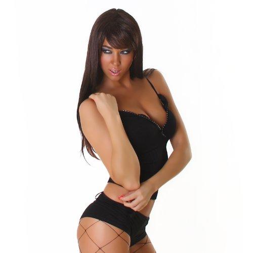 Sexy canottiera gilet da donna party Clubbing Strappy zip t-shirt taglia unica UK 6, 8, 10–EU 34, 36, 38 Black