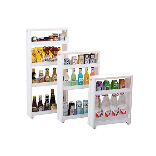 YAN Schieben Sie Storage Tower Rack mit Rädern - Küche Slim Mobile Shelving Unit Organizer - Für Enge Räume Bad & Küche - Weiß (Size : 45cm*12.5cm*97.5cm) -