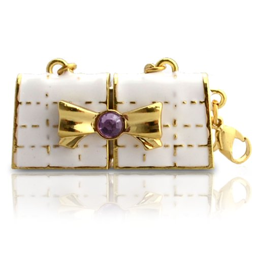 818-Shop No11800060336 Hi-Speed (USB 3.0 16GB) Speichersticks Handtasche Metall Kitty 3D weiß