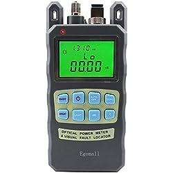 Egomall Cable de fibra y 1 mw 3.1 mi portátil óptico medidor de potencia con comprobador de cable, 70 A + 10dBm SC y FC conector probador de cable de