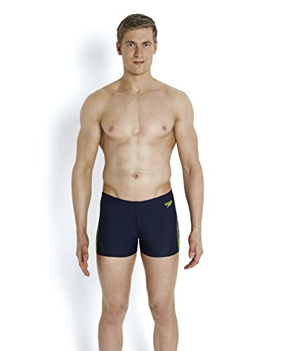 Speedo Herren dynamicwave Placement Curve Panel Aquashorts Speedo Navy/Usa Charcoal/Lime Punch