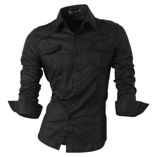 jeansian Herren Freizeit Hemden Shirt Tops Mode Langarmshirts Slim Fit MFN_8001 Black