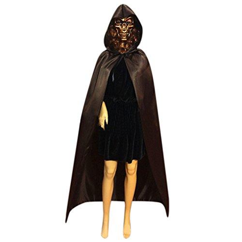 en Umhang Kostüm Cape mit Kapuze Satin Koffee (Teufel Halloween Kostüme Für Erwachsene)