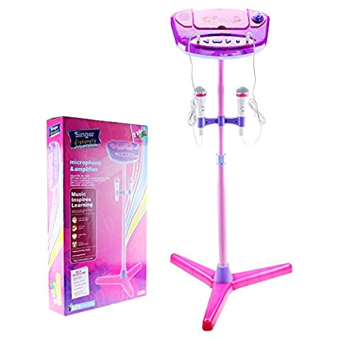 Kinder Karaoke-Maschine, Shayson Stand-up-tragbare Lautsprecher-Set für Kinder Kinder Weihnachten Spielzeug mit 2 Mikrofon verstellbaren Ständer Musik Spielset