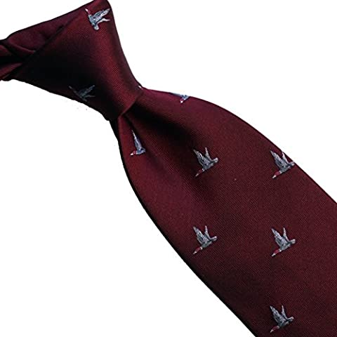 100% pure silk woven neckties ANIMATION (105 burgundy swan)