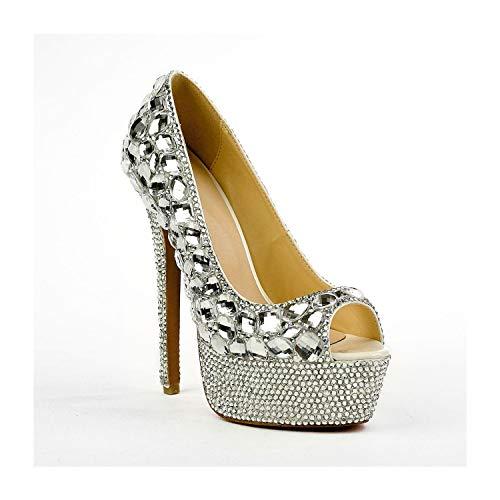 Fenghz-Shoes Schuhe Mode Echtes Leder Pumps für Frauen 16cm Stiletto Plateau Sandalen Peep Toe Schuhe Silber Strass Glitter Upper (Color : Silber, Size : 35 EU)