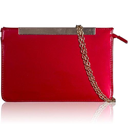 xardi London in pelle sintetica Donna Clutch Designer Donna Sera Prom partito borsa a tracolla Red