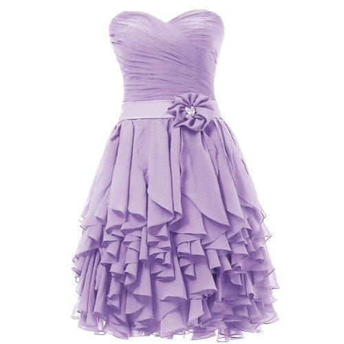 Dresstells, A-ligne robe courte mousseline de demoiselle d'honneur robe de cocktail Lavande