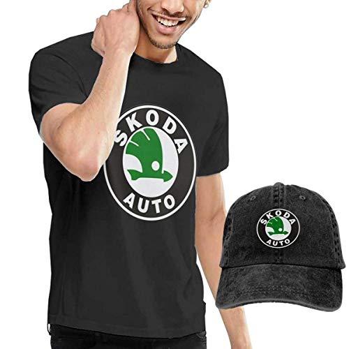 Herren Kurzarmshirt Design Skoda Car Racing Logo T-Shirt with Hats for Mens 100% Organic CottonO-Neck Black