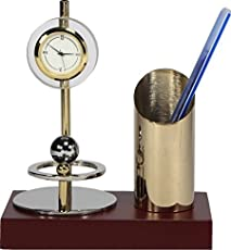 Deals Outlet Office Clock Showpiece With Stylish Pen Holder,Crystal, Brass & Stainless Steel,Gold Plated With Silver Plated Metal Stand & Pen Holder
