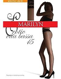 Marilyn erotische transparente Hüftstrumpfhose mit Spitze, 15 Denier