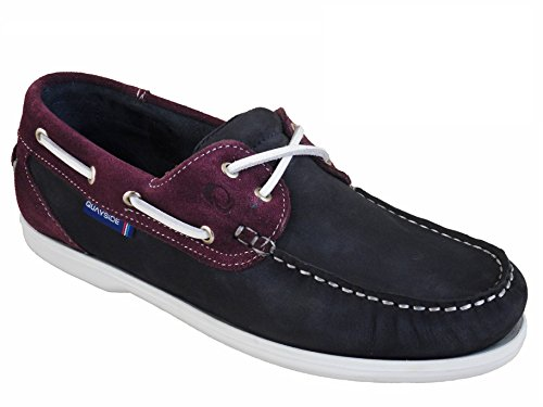 Quayside Ladies Bermuda Quality Deck Shoes Navy Plum UK 8/EU 42
