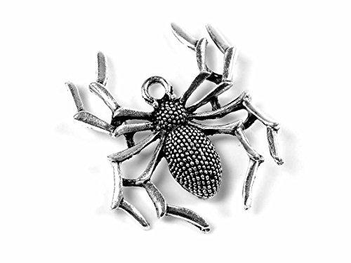 Anhänger als Spinne in antik silberfarben 2 Stück von Vintageparts DIY-Schmuck Spider Halloween Tieranhänger (Spider Edelstein Ohrringe)