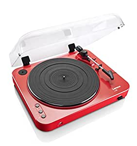 Lenco L-85 Red | 33 & 45 RPM Semi-Automatic Belt Drive USB Turntable for Vinyl with Integrated Stereo Pre-Amplifier and Moving Magnetic Cartridge (MMC) - Red Record Player