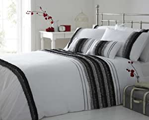 Black Grey White Kingsize Duvet Cover Ruffles