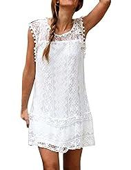 Sannysis vestidos verano mujer cortos 2017, Falda sin mangas de encaje (blanco, M)