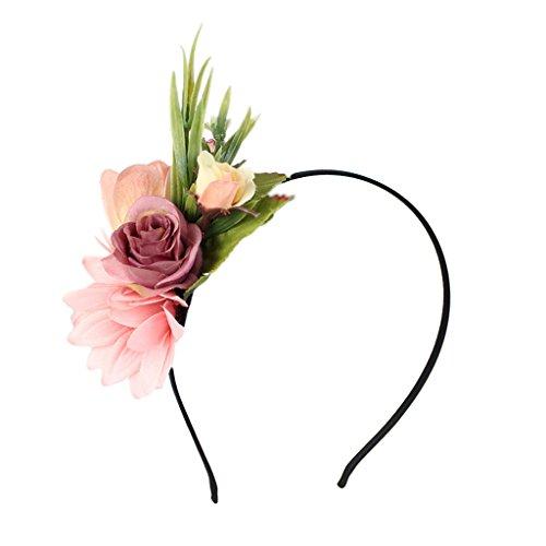 MagiDeal Damen Mädchen Rose Blume Haarreif Blumenstirnband Garland Festival Hochzeit Braut Brautjungfer Haarband Kopfband Kranz - Rosa