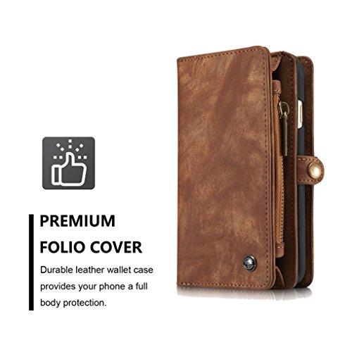LOOKAY iPhone 6 Plus/6S Plus Multifunktions PU Leder Handy Tasche Schutzhülle hülle und Geldbörse 2 in 1 - Braun