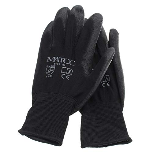 Lederhandschuhe 12Pairs Arbeitshandschuhe Nitrilbeschichtete Sicherheit Garden Builders Grip Anti-Rutsch-Größe M/L/XL - L Beheizte Handschuhe (Größe : XL) -