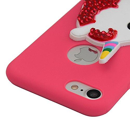 Lanveni iPhone Hülle, Handyhülle Etui Protective Case Cover Diamond TPU Silikon Schutzhülle Bumper Handytasche TPU-Bumper Weiche Silikon Case mit Bunte Cover Design für iPhone 7 Hülle (Gelb)+1×Kondens Rot