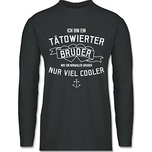 Bruder & Onkel - Ich bin ein tätowierter Bruder - Longsleeve / langärmeliges T-Shirt für Herren Anthrazit