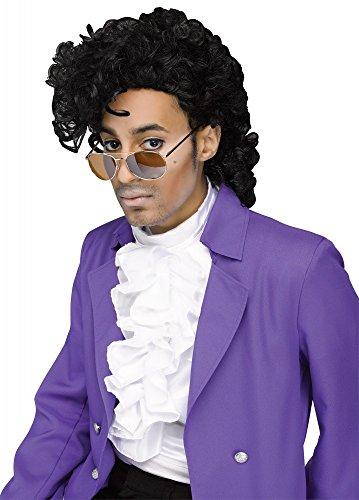 shoperama 80s Rockstar Purple Prince Perücke gelockt schwarz Locken Star ()