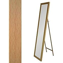 Espejo de pie beige de plástico clásico para dormitorio France - Lola Home