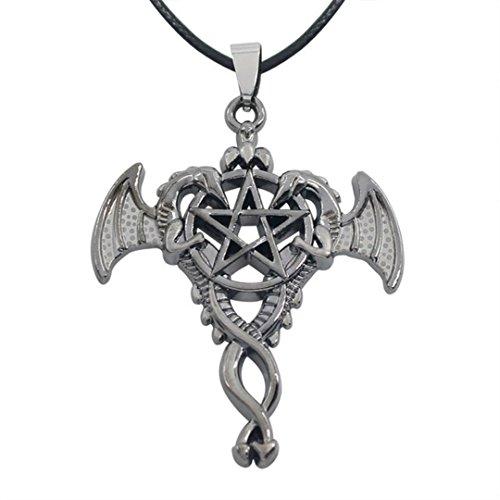 Dan \'s Sammlerstücke und Mehr Pentagramm Double Dragon Halskette Pagan Witchcraft Goth Halloween Game of Thrones W/Gift Box by