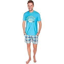 Italian Fashion IF Pijama Conjunto Camiseta y Pantalones Hombre P1R4S 0227 (Turquesa, XL)