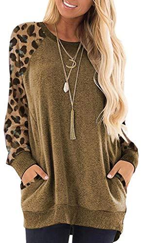Mujer Leopardo Jersey Sudadera Camiseta Manga Larga Color Block Cómodo Jerséis Tops Khaki L