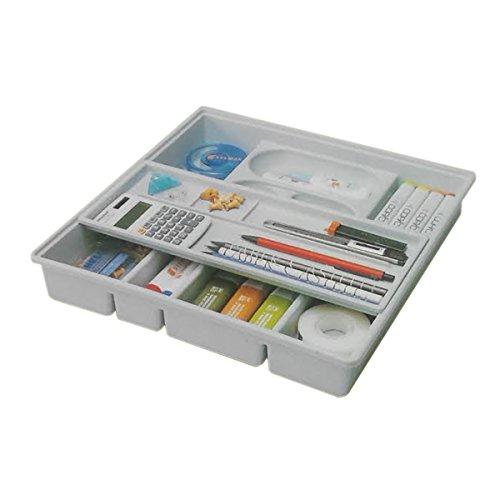 Organiseur de bureau en plastique pour tiroir de rangement à 2 étages avec plateau coulissant 63004