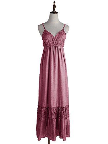 Anna-Kaci Frauen Einstellbare Träger Boho Spitze Weiß V-Ausschnitt Ärmellos lange Maxi Kleid Pink