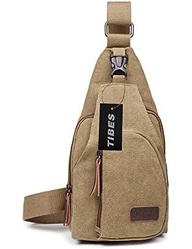 Tibes kühlen Outdoor Sports beiläufige Segeltuch Umhängetasche Sling Bag Umhängetasche Brusttasche für Männer