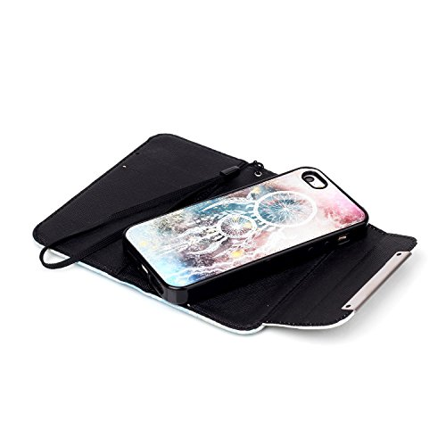 MOONCASE iPhone 5 Case 2 in 1 avec détachable Coque en Cuir Portefeuille Housse de Protection Étui à rabat Case pour iPhone 5 5S -FT06 FT11