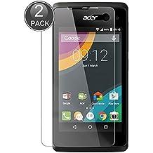 E-Hamii [2-Pack] Acer Liquid Z330 Protector de Pantalla, 0.26mm HD Anti-Scratch y Anti-huella digital Proteger la película, 9H Vidrio templado Cubierta protectora, Mejor protección