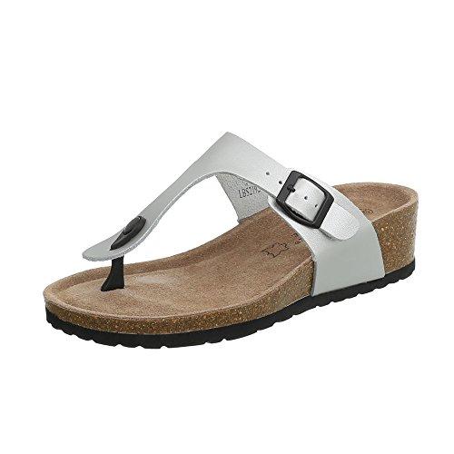 Ital-Design Zehentrenner Leder Damen-Schuhe Keilabsatz/Wedge Sandalen & Sandaletten Silber, Gr 39, Lbs2192-