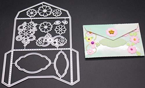 CTOBB Blumen-Umschlag Metallschneideisen für Scrapbooking Stencils DIY Album-Karten Dekoration Embossing Folder Die Cuts Cut, Blumen-Hintergrund - Wort Folder Embossing