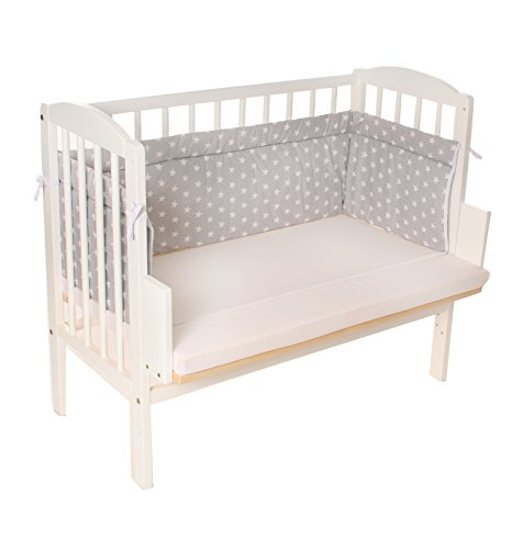 Beistellbett, Kinderbett, Gitterbett, Babybett, Babyblume MARIA 90x40cm, weiss inkl. Matratze Comfort und Nest grau Sterne