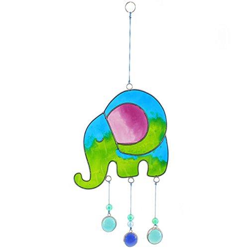 Jones home & gift Sonnenfänger-Mobile, Ethisch gehandelt, blau/grün, Elefant, schÖnes Geschenk für jede Gelegenheit (Grün Womens Bali)
