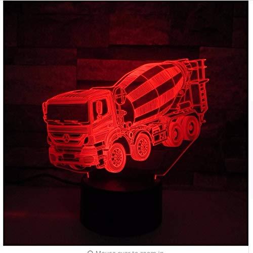 Mixer 3D Led Nachtlicht Mode Led Remote Touch Switch 7 Farbwechsel 3D Lampe Lkw Auto Baby Schlafatmosphäre Lampe Als Geschenk Licht box (Hippo Mixer)