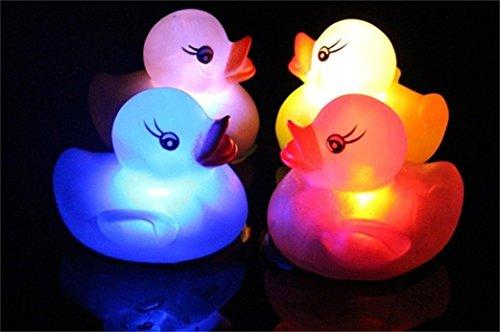 Upxiang Glühende Badeente Spielzeug Baby Badespielzeug Farbwechsel LED Lampe Licht Vinyl Ente Spielzeug (Rosa)